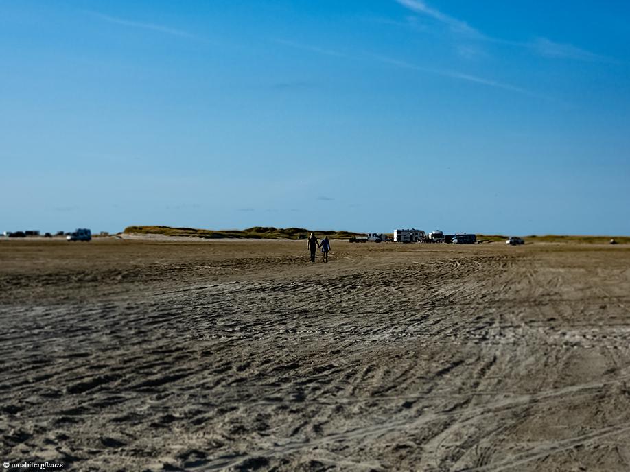 Strand, Liebespaar, Wohnwagen, Sand, Reifenspuren, Dünen, Himmel, Blau